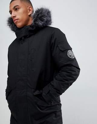 35ccd487ccf99 Bellfield Parka With Faux Fur Hood In Black