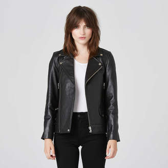 DSTLD Womens Boyfriend Leather Moto Jacket in Black\t\t