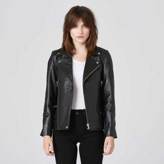 DSTLD Womens Boyfriend Leather Moto Jacket in Black\t\t