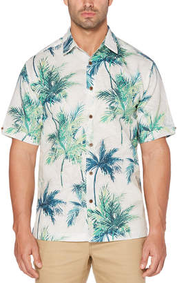 Cubavera Big & Tall Geometric Palm Print Shirt