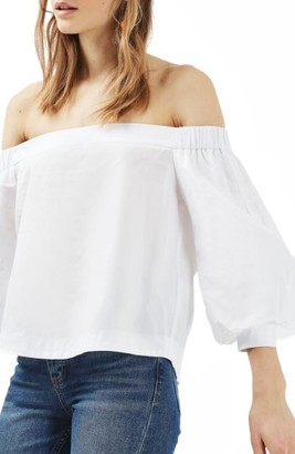Women's Topshop Puff Sleeve Off The Shoulder Top $55 thestylecure.com