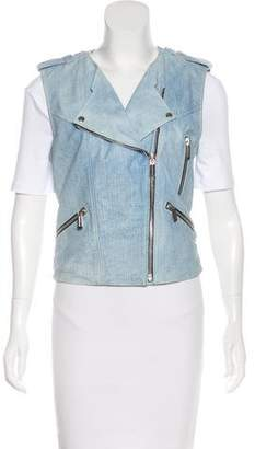 Barbara Bui Leather Blue Jean Vest w/ Tags