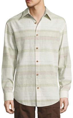 Island Shores Long Sleeve Stripe Button-Front Shirt