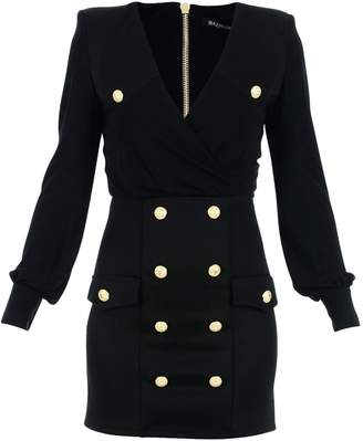 Balmain Paris Viscose Black Mini Dress With V-neck And Iconic Golden Metallic Buttons