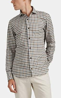 Eleventy Men's Gingham Cotton Shirt - Brown Pat.