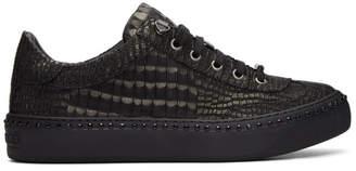 Jimmy Choo Black Croc Crystal Ace Sneakers