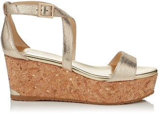 Jimmy Choo PORTIA 70 Gold Metallic Printed Leather Wedge Sandals with Metallic Flecked Cork Wedge