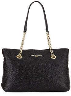 Karl Lagerfeld Paris Karolina Floral-Embossed Leather Tote Bag