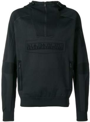Napapijri logo panelled hoodie