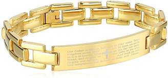 Crucible Jewelry Mens IP Stainless Steel Lord's Prayer ID Link Identification Bracelet