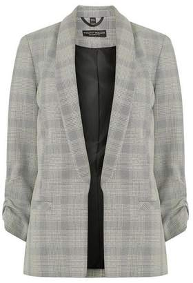 Dorothy Perkins Womens Grey Checked Ruched Sleeve Jacket