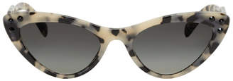 Miu Miu Beige Logomania Cat-Eye Sunglasses