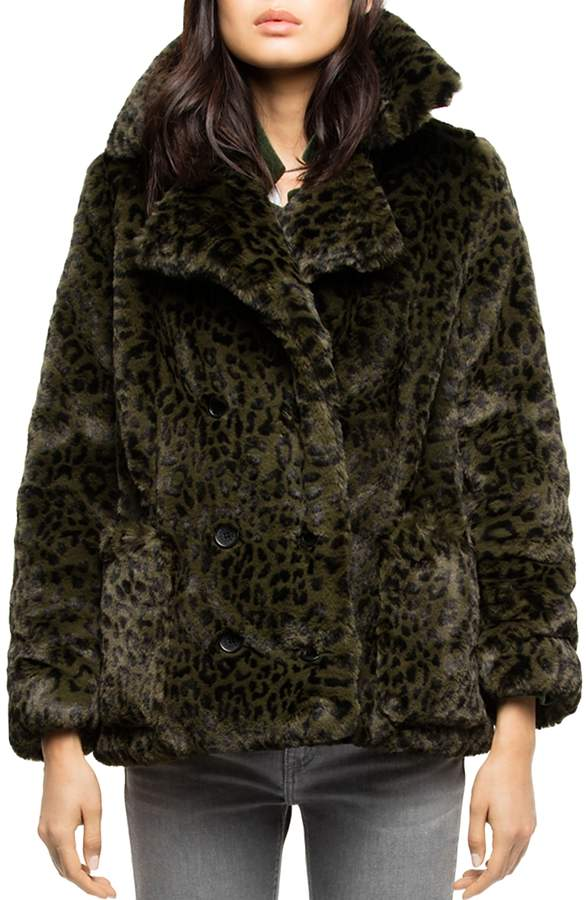 Miles Leopard Faux-Fur Peacoat