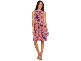 Adrianna Papell Paisley Bandana Printed Chiffon Pleated Fit and Flare Dress Women's Dress