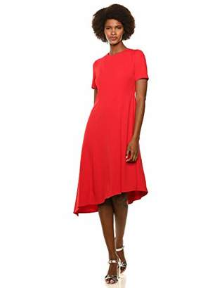 Donna Morgan Women's Stretch Crepe Asymmetric Hem Fit and Flare Dress