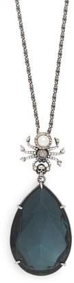 Alexander McQueen Spider And Swarovski Crystal Necklace - Womens - Blue
