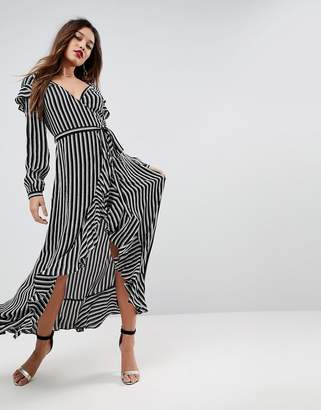 Asos DESIGN long sleeve ruffle wrap tea maxi dress in stripe