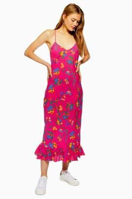 Topshop Bright Floral Print Slip Dress