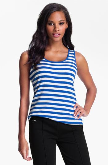 Lauren Ralph Lauren Stripe Shelf BraTank Stripe White/ Cove Turquoise Large