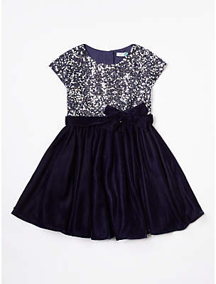 John Lewis & Partners Sequin Velour Dress, Navy
