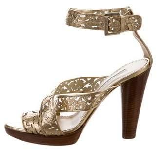 Oscar de la Renta Metallic Cutout Sandals
