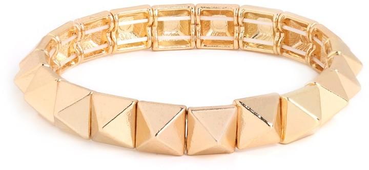 BaubleBar Gold Pyramid Stretch Bracelet