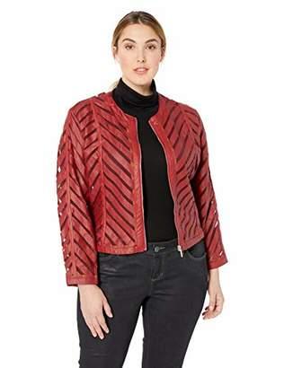Yoki Women's Plus Size Faux Leather Mesh Jacket