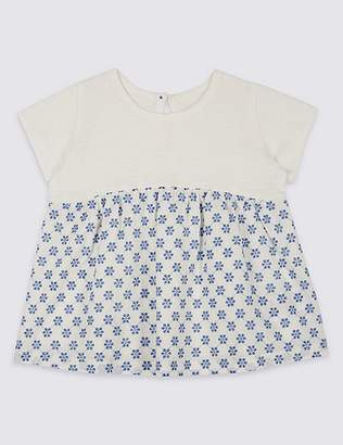 Marks and Spencer Pure Cotton Floral Embroidered T-Shirt