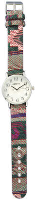 MOP OLIVIA PRATT Olivia Pratt Womens Silver-Tone Faux Dial Green-Pink Patterned Fabric Strap Watch 10352Tr