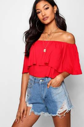 eb701246f5393 boohoo Basic Off The Shoulder Frill Crop Top