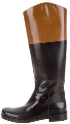 Michael Kors Leather Round-Toe Boots