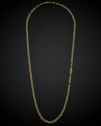 Italian Gold 14K Stardust Finish Paperclip Chain Necklace