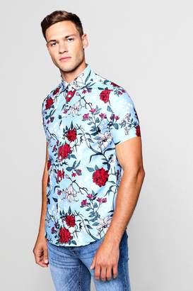 boohoo Wild Floral Print Short Sleeve Shirt