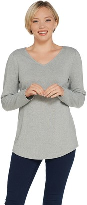 Belle By Kim Gravel Belle by Kim Gravel Heathered VNeck Long Sleeve Top w/ Smile Hem