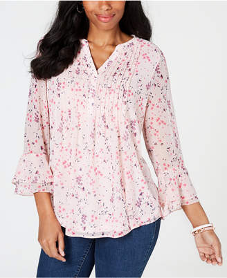 Charter Club Floral Double-Ruffle Blouse