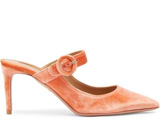 Aquazzura Blossom 75 Velvet Mules - Womens - Light Pink