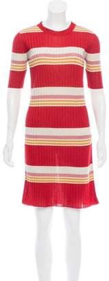 MAISON KITSUNÉ Striped Metallic Dress
