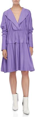 Jil Sander Navy Violet Hooded Long Sleeve Dress