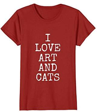 I Love Art And Cats Tee Shirts | Funny Kitty Cat T-Shirt