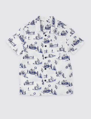 Marks and Spencer Cotton Blend Van Print Shirt (3 Months - 7 Years)