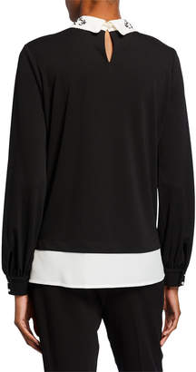 Karl Lagerfeld Paris Collared Embroidered Pearlescent Twofer Top