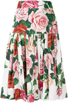 Dolce & Gabbana floral print pleated skirt