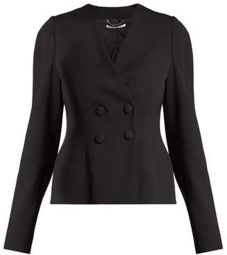 Stella Mccartney - Peyton Wool Blend Double Breasted Cropped Jacket - Womens - Black