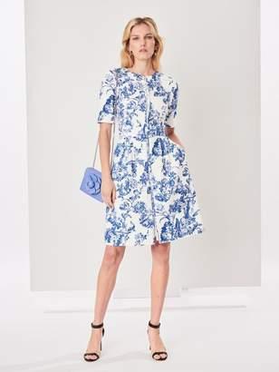 Oscar de la Renta Belted Floral Toile Textured Cotton Dress
