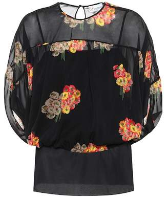 RED Valentino Floral-printed silk top