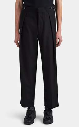 The Row Men's Pleated-Front Wool-Cotton Wide-Leg Trousers - Black