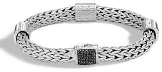 John Hardy Classic Chain Silver Medium Four Station Bracelet with Black Sapphire