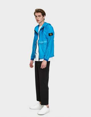 Stone Island Resin Poplin-TC Hooded Jacket in Cobalt Blue