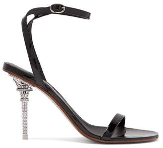 Vetements Eiffel Tower Heel Patent Leather Stiletto Sandals - Womens - Black