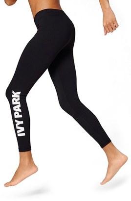 Women's Ivy Park Logo Mid Rise Ankle Leggings $42 thestylecure.com